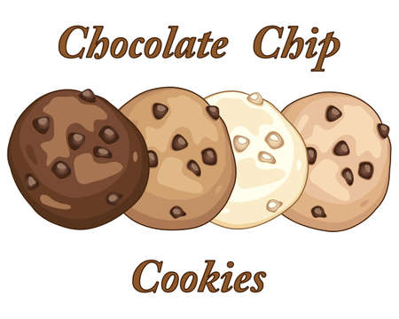 chocolate chip: an illustration of four varied chocolate chip cookies on a white background with typeface in an advert format