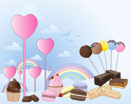 chocolate treats: an illustration of a fantasy land of confectionery with hearts rainbows and clouds with a selection of sweet treats on a light blue background Illustration