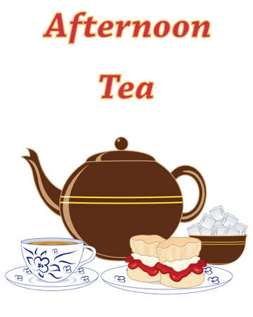 an illustration of an advert for an english cream tea with teapot sugar and jam and cream scones on a white background Illustration