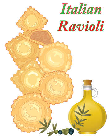 an illustaration of ravioli parcels on a white background with olive oil