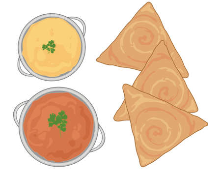 crisp: An illustration of an indian meal with fresh dosa and curry dishes on a white background