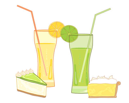 an illustration of fruity drinks with traditional desserts of lemon meringue pie and key lime pie on a white background Illusztráció