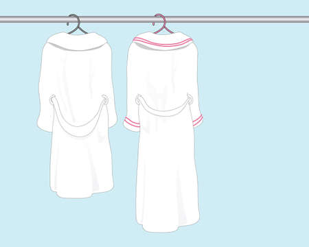 white bathroom: An illustration of two white bath robes on clothes hangers in a bathroom with space for text.