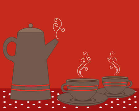 an illustration of a coffee pot and cups in shades of red with polka dot vintage tablecloth and space for text