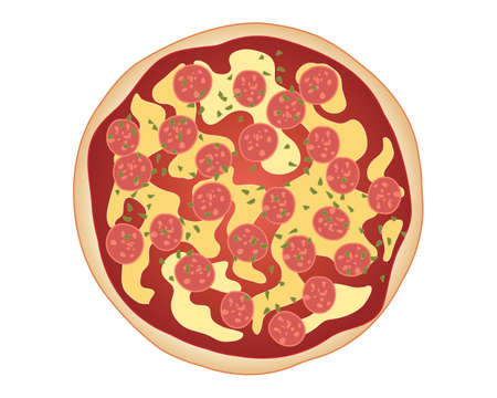 pizza base: an illustration of classic pepperoni pizza with bread base tomato sauce cheese and pepperoni sprinkled with herbs
