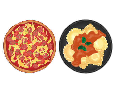 two plates of italian popular food including pizza and ravioli with pepperoni tomato sauce and basil leaves