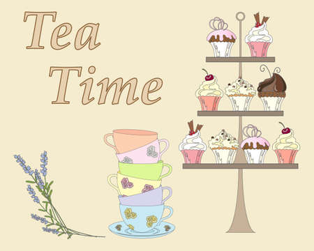 beige background: an illustration of an english afternoon tea with a display of cakes some fancy cups and lavender flowers on a beige background Illustration