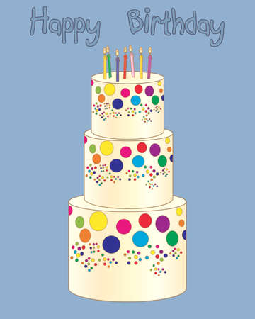 Illustration of a three tier birthday cake with colorful candles on a vintage blue background