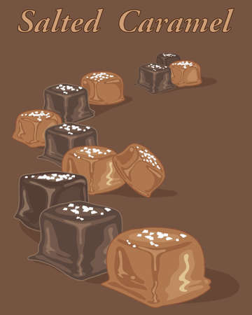 An illustration of a selection of salted caramel candies on a chocolate background. Illusztráció