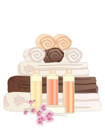 una ilustración de una selección de accesorios de baño de hotel, incluyendo toallas, paños de cara, jabón y champú sobre un fondo blanco