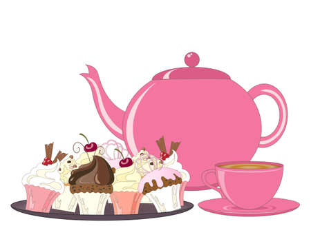 an illustration of a selection of decorated cakes teapot and tea cup for an afternoon tea on a white background