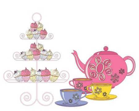 an illustration of a selection of fancy cakes teapot and tea cups for an afternoon tea on a white background