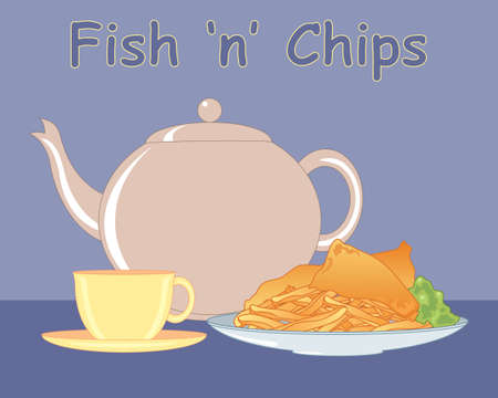 an illustration of a meal of fish and chips with mushy peas and a pot of tea on a blue background