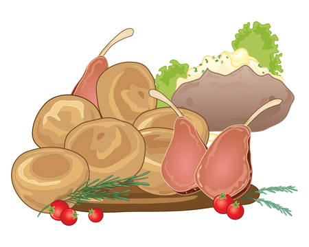 an illustration of a traditional sunday roast meal with yorkshire puddings rack of lamb and a baked potato on a white background Illusztráció