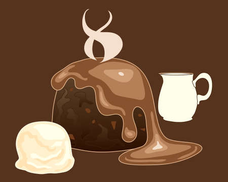 vanilla pudding: an illustration of a hot chocolate pudding with toffee sauce vanilla ice cream and a jug of heavy cream on a dark background Illustration