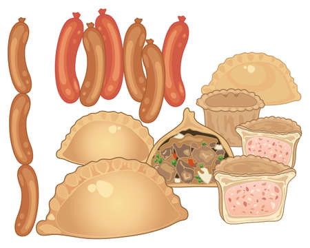 Illustration of various meat products including sausages and pork pies.