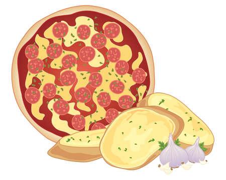 Illustration of a pepperoni pizza with crispy fresh garlic bread and garlic bulbs.