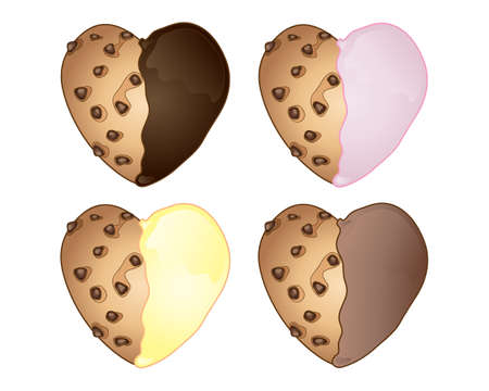 an illustration of four novelty heart shaped cookies with chocolate and fruit frosting on a white background Illusztráció