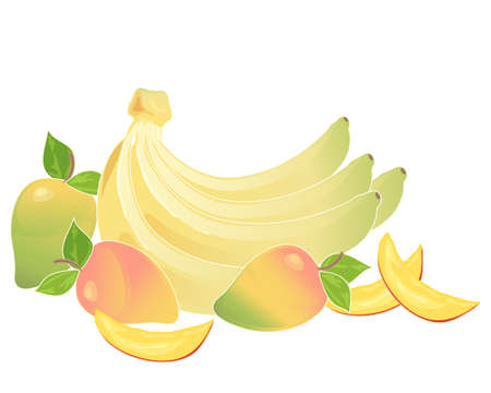 an illustration of a bunch of yellow bananas and some mango fruits with slices on a white background Illusztráció