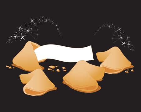 an illustration of some magic fortune cookies on a black background with sparkles
