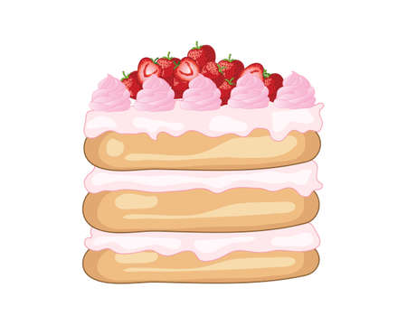 an illustration of a layered strawberry cake with decorations and fresh fruit on a white background