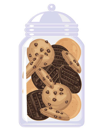 Illustration of a clear glass jar full of chocolate digestives and chocolate chip cookies Illustration