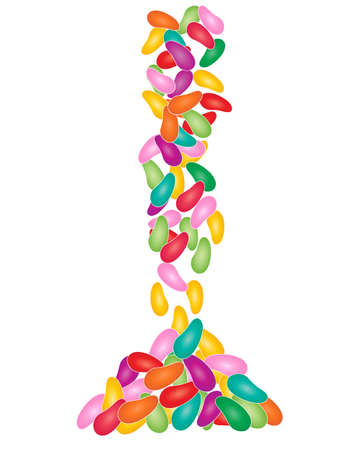 An illustration of a colorful pile of jellybean sweets on a white background