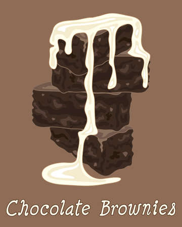 an illustration of a stack of chocolate brownies with cream on a brown background