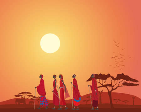 Illustration of african masai men walking across the plains at sunset in kenya