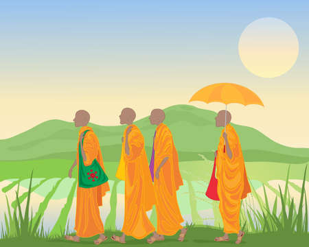 Illustration of buddhist monks in orange robes walking by a paddy field with mountains in asia