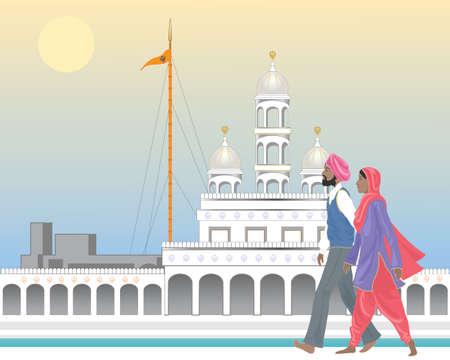 Een illustratie van een Sikh-paar op een sierlijke tempel