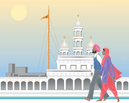 An illustration of a Sikh couple at an ornate temple