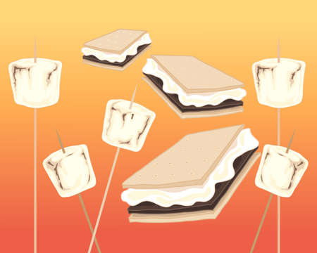 An illustration of toasted marshmallows and smores on a fire background