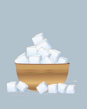 Eine Abbildung einer hölzernen Schüssel Zuckerwürfel zerstreute mit Zuckerkörnchen auf einem Schieferblauhintergrund Vektorgrafik