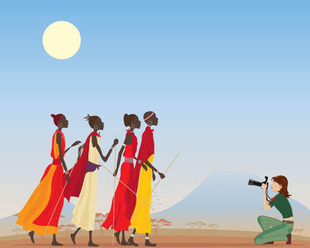 An illustration of a female photographic journalist taking pictures of Masai women in a Kenya landscape.