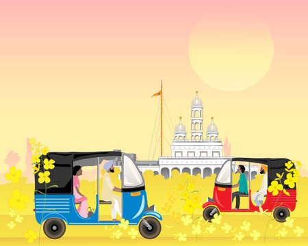 Eine Illustration von Punjab-Taxis in einer indischen Landschaft mit einem Sikh-Tempel im Abendsonnenschein.