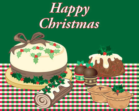 An illustration of delicious christmas food treats set on a red and green tablecloth with a green background