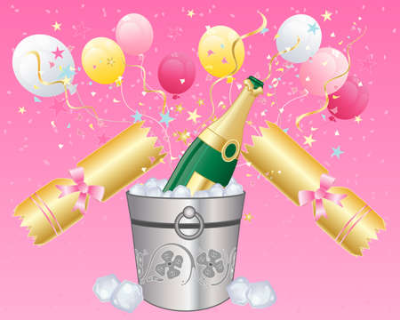An illustration of a bottle of champagne on ice with a golden party cracker balloons and confetti on a pink background