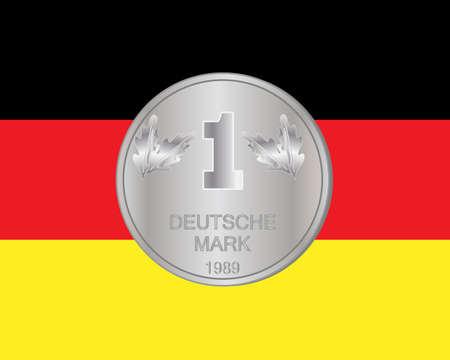 Eine Illustration einer deutschen Banknote Münze auf einem deutschen Flaggenhintergrund Standard-Bild - 91613188
