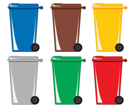 An illustration of six colorful wheelie bins for different types of refuse and recycling on a white background Illustration