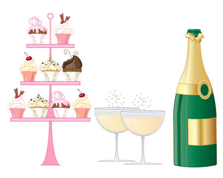 an illustration of a sparkling champagne afternoon tea with facy cake stand and bottle on a white background