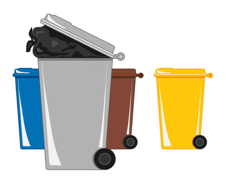 an illustration of refuse and recycling bins with black binbag on a white background