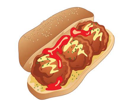 Een illustratie van een heerlijke sandwich van het lunchtijdvleesballetje in een broodbroodje met tomatensaus versiert en mosterd op een witte achtergrond
