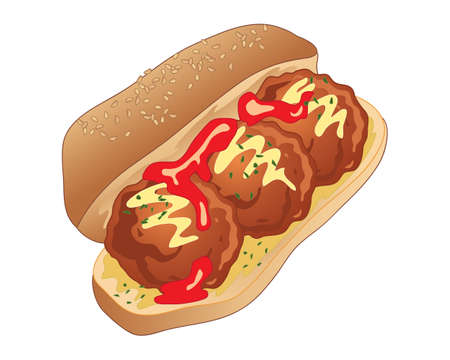 An illustration of a delicious lunch time meatball sandwich in a bread bun with tomato sauce garnish and mustard on a white background Vectores