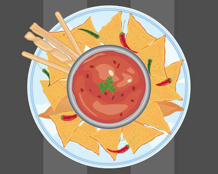 an illustration of a ceramic plate with crunchy nachos and bread sticks around a bowl of hot chilli sauce and fresh chillies on a gray background