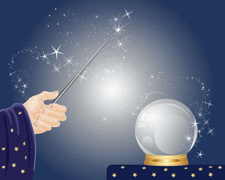 an illustration of a wizards hand holding a magic wand with sparkles and a magic crystal ball on a tble with a blue background