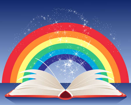 an illustration of a magic book with white pages sparkles and a rainbow on a dark blue background