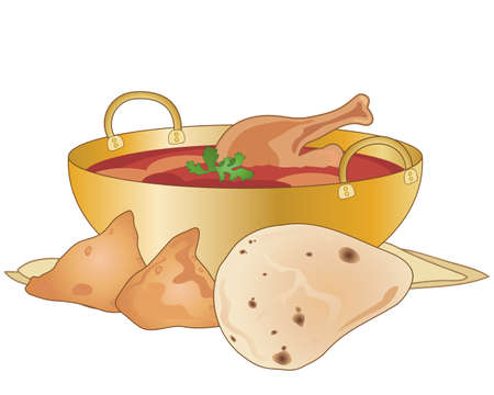 an illustration of a bowl of chicken curry with chicken leg garnish naan bread and samosas on a white background