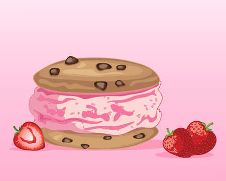 an illustration of a strawberry ice cream sandwich with chocolate chip cookies and fresh fruit on a pink background