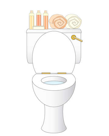 an illustration of a clean white ceramic bathroom toilet with towels and luxury toiletries on a white background